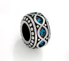 Stainless Steel Rondelle Spacer Beads w/ Blue Rhinestones for European Bracelets