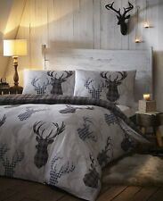 Tartan Check Stag Super King Size Quilt Duvet Cover & 2 Pillowcase Grey Bedding
