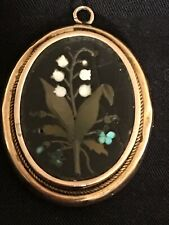Antique Victorian 9k Gold Pietra Dura Brooch Hair Locket Snowdrops Flowers 3,5cm