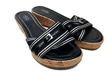 Talbots Sandals Size 7.5 M Black White Striped Cork Wedge Slide Heels Platform