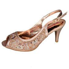 Women Slingback Shoes Peep Toe Kitten Heels Metallic Diamante Flower Lace Size