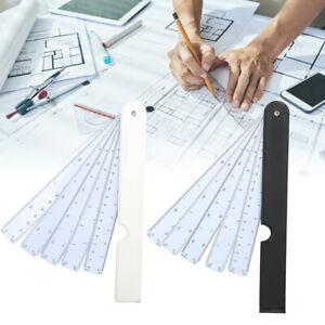 4Pcs Multifunctional Fan Scale Ruler Plastic Drafting Foldable Tool