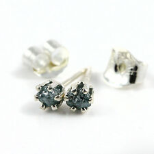 3.0mm Sterling Silver Studs Blue Rough Diamonds Uncut Tiny Post Earrings 6-prong