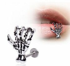 Women Punk Ancient Silver Skull Skeleton Hand Lip Body Piercing Hip Hop Jewelry