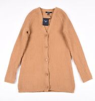 £160 GANT N Rib Women Ochre Cardigan Sweater Size XS