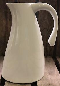 White Modern Glazed Ceramic Pottery Large Handled Pouring Jug Pitcher Kitchen