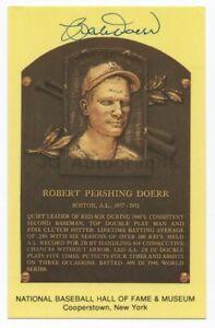 Bobby Doerr - MLB Hall of Fame - Autographed Hall of Fame Plaque Postcard