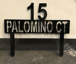 """Metal Yard Sign 24"""" x 12"""" Customizable Name/Street Outdoors Aluminum Black"""