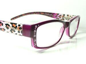Womens Designer Animal Print Diamante Reading Glasses