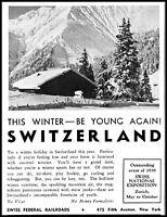 1938 Switzerland winter exposition Swiss railroad vintage photo Print Ad adL44
