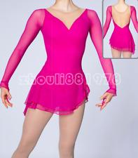 Girls' Ice Skating Dress Spandex, Mesh High Elasticity Training Handmade pink
