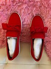 NIB Michael Kors Willa Satin Slip-On Sneakers- Red