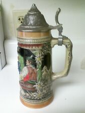 "RARE- GERZ AUTHENTIC 9"" STEIN W/ PEWTER LID CRAFTED BY J. DIETSCH-"