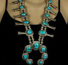 Old Pawn Vintage NAVAJO Sterling & Kingman Turquoise Squash Blossom Necklace