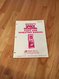 Midway's Space Encounters Video Arcade Game Parts And Operating Manual, 1980