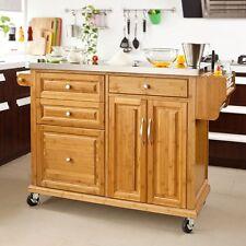 SoBuy® Küchenwagen aus Bambus m. Edelstahltop,Servierwagen,Küchenschrank FKW14-N