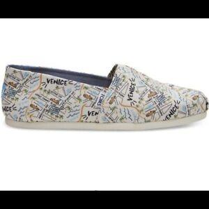 NWB TOMS Natural Canvas Venice Print Slip On Shoes Size 11