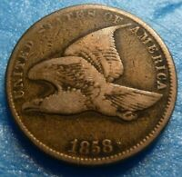 1858 SL Flying Eagle  Cent  Coin  #RR58-2