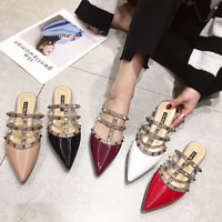 New Womens Leather Rivets Flat Roman Slippers Sandal Shoes Pointed Toe Flats
