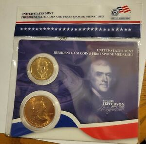 2007 Thomas Jefferson $1 Presidential Coin and First Spouse Medal Sealed