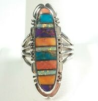 925 STERLING SILVER ELONGATED ETCHED SPINY OYSTER OPAL TURQUOISE SIZE 8 RING