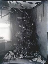 Vintage 1920s Photo Negative Christmas Tree Tinsel Toys Dolls Truck Popcorn 7x9