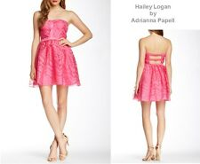 Pink Strapless Organza Overlay Party Prom Dress Haily Logan by Adrianna Papell 7