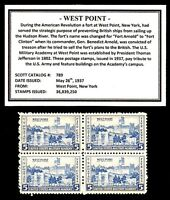 1937 - WEST POINT - Mint -MNH- Block of  Vintage Postage Stamps