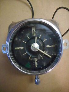 "Vintage Geo W Borg Dashboard Clock, 6 V, 1948, 3 1/4"" Wide, Great Dials, Clean"