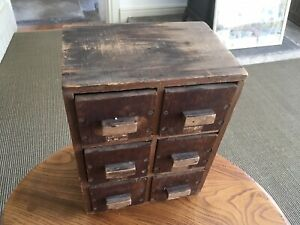 "Wooden Six Drawer Magic lantern Slide Box for 3.25 3 1/4"" Inch Glass Slides"