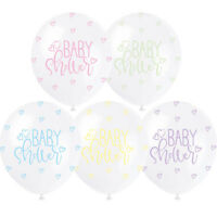 """Pearl White 12"""" Assorted Colour New Baby Shower Latex Balloons 5pk Unisex"""