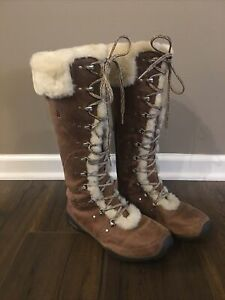 North Face Womens Boots Tall Fur Insulated Tan Lace Up AHFB Y71 TB5l 6201 8.5