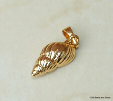 Gold Plated Spiral Shell Pendant - Natural Sea Shell - Seashell Pendant  20-22mm