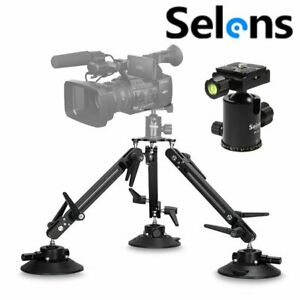 Professional Triple Suction Cup Camera Car Mount w/ Ball Head for DSLR Gopro