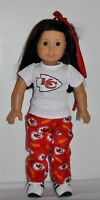 AMERICAN MADE DOLL CLOTHES FOR 18 INCH GIRL DOLLS DRESS LOT KC CHIEFS- PJS
