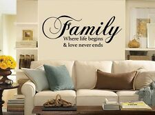 Family Where life begins-Vinyl Wall Decals-Great for walls of your home.