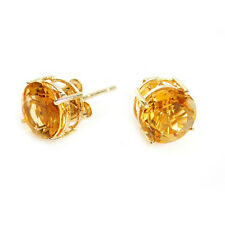3.00 CARAT 14K SOLID YELLOW GOLD NATURAL CITRINE ROUND SHAPE STUD EARRINGS