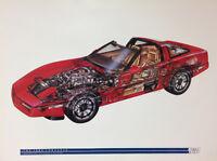 1984 Corvette Cutaway - Artist: David Kimble. Original Printings Car Poster