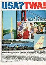 PUBLICITE ADVERTISING  1964   TWA  USA   compagnie aérienne