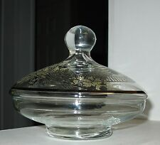 """A PRETTY 5"""" X 6"""" 25TH ANNIVERSARY SILVER OVERLAY LIDDED GLASS CANDY BOWL/DISH"""