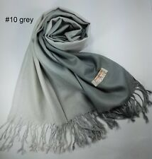 New Women Scarf Gradien Grey Wrap Shawl Tassel Winter Scarf Solid Pure Color MIT
