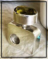 Vintage Modernist Taxco Sterling Silver Cabochon Perfume Bottle 64.3 gr