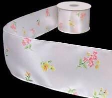 "25 Feet Spool White Pink Purple Mini Daisy Flowers Sheer Wired Ribbon 2 1//2/""W"