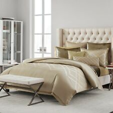 New Hudson Park Luxe Piazza Embroidered King Duvet Cover $570 Mocha G2241