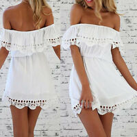 Women Summer Beach Off Shoulder Party Evening Cocktail Short Mini Dress Lace.UK