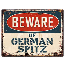 Ppdg0123 Beware of German Spitz Plate Rustic Tin Chic Sign Decor Gift Ideas