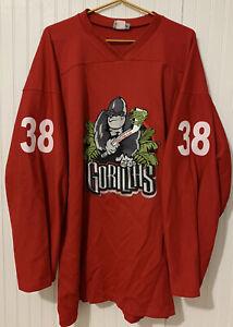 Vintage Amarillo Gorillas Hockey Practice Jersey OT size 56 #38 Red