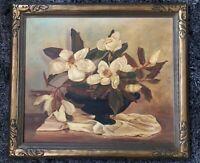 1941 Signed Framed Elizabeth Hemlett Watkins FLOWERS - OIL PAINTING ON CANVAS