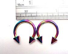 Pair Rainbow Titanium Horseshoes Spikes Cartilage Lip Rings 14 gauge 14g 10 mm