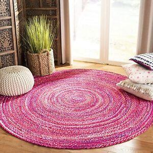 Rug 100% Cotton Style Braided Round Handmade Reversible Modern Rustic Look Rug